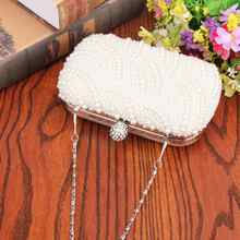 Oval Shaped Pearl Beaded Handbag Women White Clutch Bag Elegant Chain Shoulder Handbags Wedding Bridal Purse Clutch Female Z80