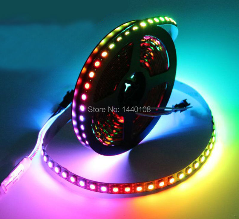 20m/lot 74LEDS ws2812B Pixels Black Board Non-Waterproof Addressable Color Flexi LED Strip Light 2811 IC 5050 RGB SMD Lamps DC5V