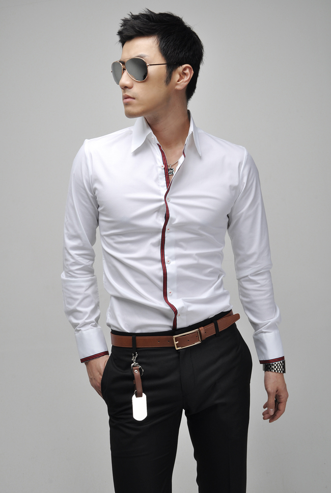Hot The New Men'S Fashion Men Shirt Korean Version Of Self-cultivation Slim Long-Sleeved Male Embroidered Shirt 5910