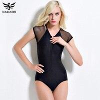One Piece Swimsuit 2016 Fashion Sexy Swimwear Women Summer Beach Wear Mesh Zipper Bathing Suits Swim