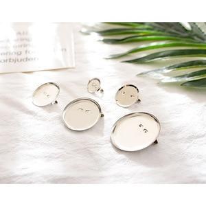50 pçs/lote base de broche com clipe e pino de segurança cabochão em branco bandejas cameo cabochão base configuração suprimentos para diy jóias fazendo