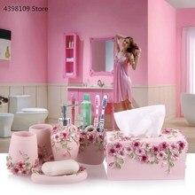 Artigos domésticos conjuntos de banheiro loção resina garrafas escova de dentes suportes caixas de sabão acessórios do banheiro eletrodomésticos