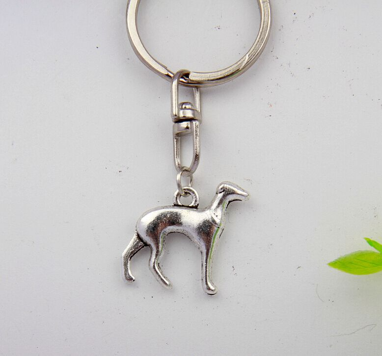 Trendy 50pcs/Lot Hot Vintage Silver Greyhound Dog Charm Steampunk Rotary Buckle Key Ring Fashion Jewelry Decorative Gifts S819