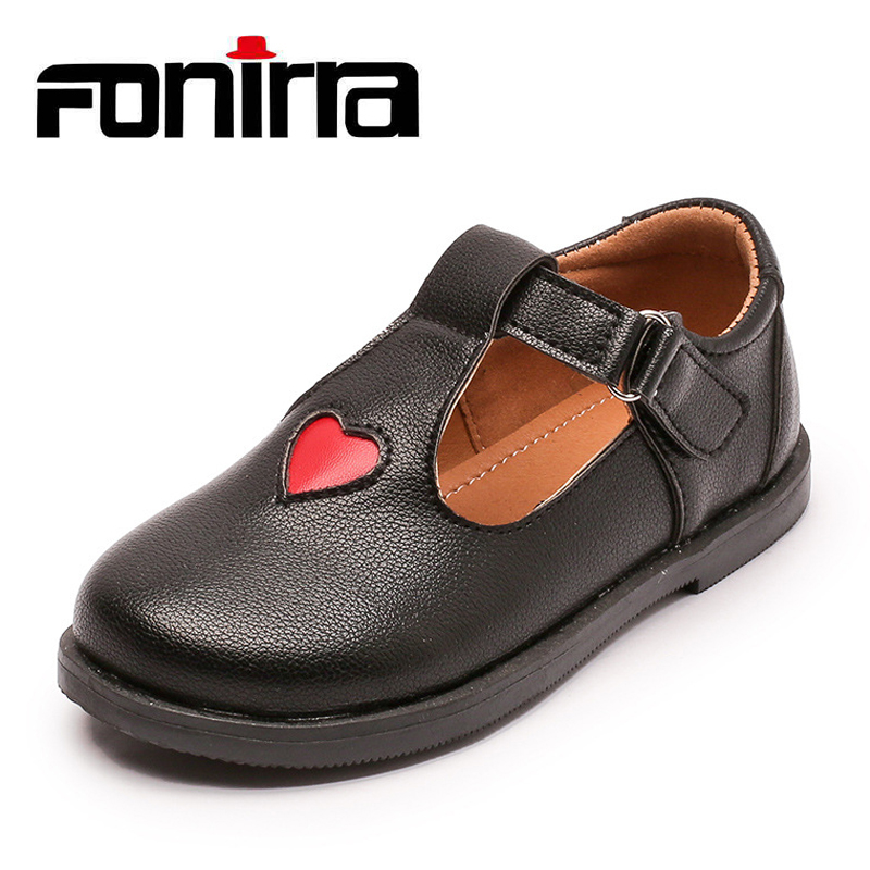 Newest Hot Selling Baby Girls Flat Leather Shoes Childrens Cute Buckle Shoes Toddlers Round Toe Princess Shoes With Love 369