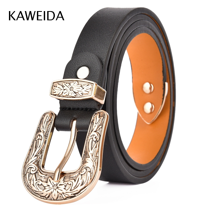 KWD 2019 Designer Brand Luxury Women High Quality Trending Genuine Leather Vintage Pin Buckle Belt For Dress Casual Kemer Riem