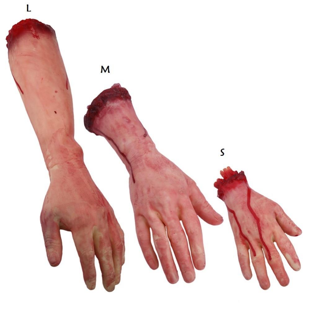 Hartig Horror Truc Speelgoed Eng Prop Latex Stump Bloody Cut Hand Been Bone Halloween Gift Praktische Joke Rubber Kunstmatige Gebroken Hand
