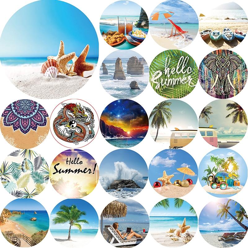 Hot sale tropical sea landscape star animal beach towel elephants hello summer  Round towels size 1500*1500mm