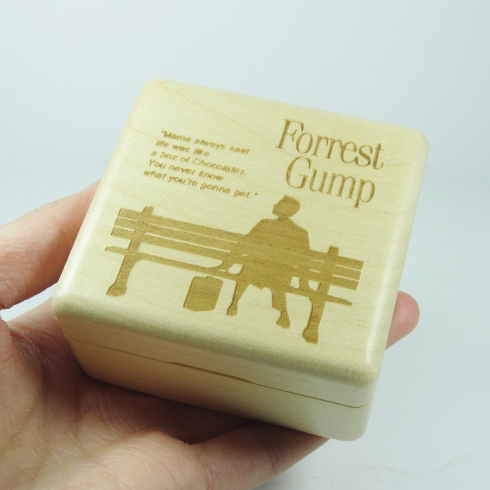 Wood wind up music box The Forrest Gump theme gifts for lovers, childrens