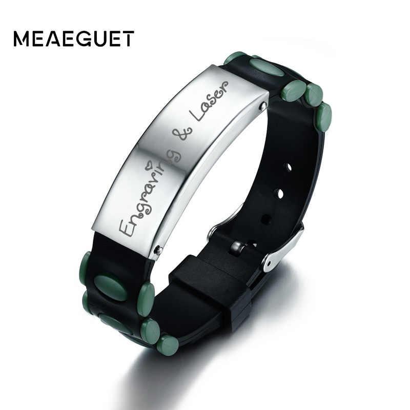 Meaeguet Laser grawerować spersonalizowane Pin zapięcie ID bransoletka dla mężczyzn dostosowane silikonowe Watchband bransoletka biżuteria z pierwszą literą imienia 16mm szerokości