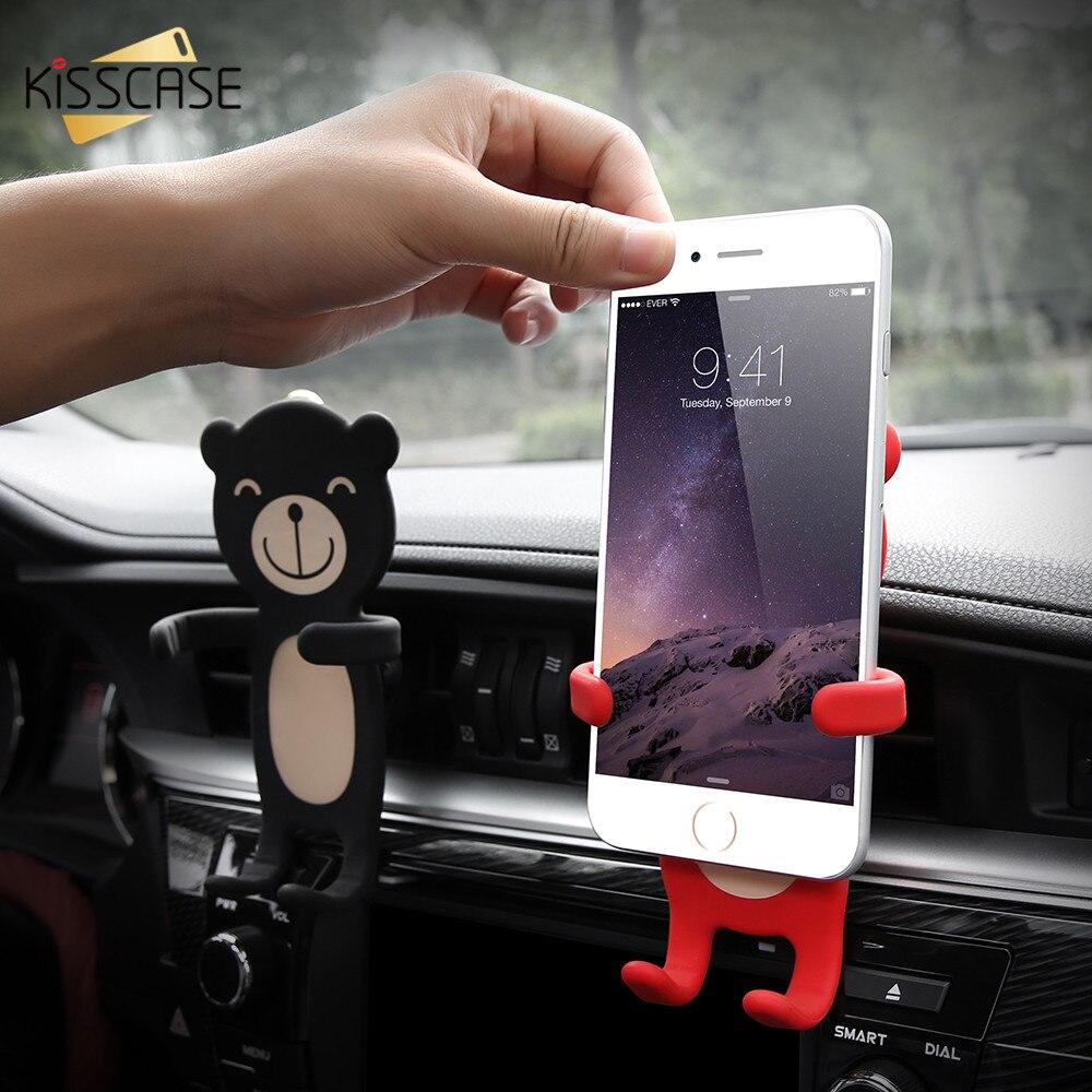 KISSCASE Universel De Voiture Support de Téléphone Stand Pour iPhone 6 6 s 7 Plus 5S Samsung Galaxy S8 Plus S7 S6 auto Car Air Vent Téléphone Berceau