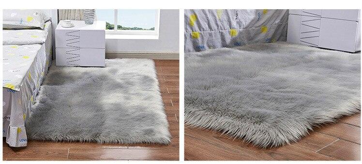 branca shaggy longo cabelo tapete sólido decoração da sua casa