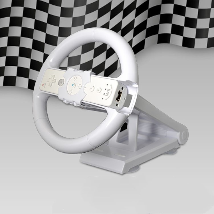 White Multi-angle Axis Mari o Racing Game Steering Wheel Stand Dock Base for Nintend Wii Console Controller Wii Game Accessory image