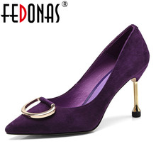 FEDONA Fashion Women Basic Pumps Genuine Leather Pointed Toe High Heels Wedding Party Shoes Woman Metal Decoration Prom Pumps (China)