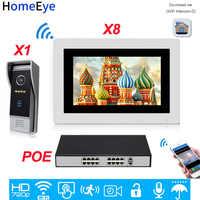 HomeEye 720 P HD WiFi IP Video Telefono Del Portello Del Video Citofono Android/IOS APP di Sblocco a Distanza Casa di Controllo di Accesso sistema di 1-8 + Switch POE