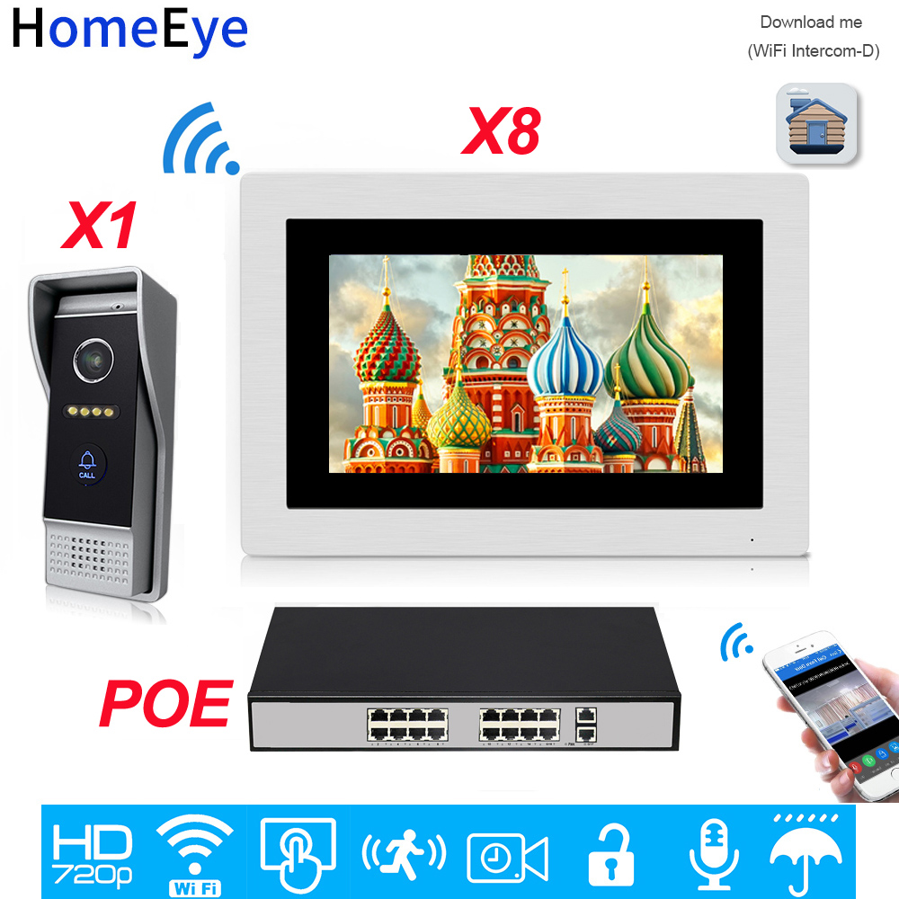 HomeEye 720P HD WiFi IP Video Door Phone Video Intercom Android/IOS APP Remote Unlock Home Access Control System 1-8 +POE Switch