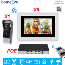 HomeEye 720P HD WiFi IP Video Door Phone Intercom Android/IOS APP Remote Unlock Home Access Control System 1-8 +POE Switch