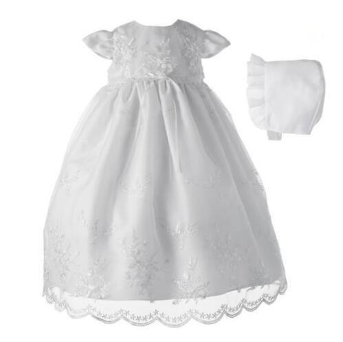 Alta calidad recién nacido traje de bautizo del bautismo del vestido blanco / de marfil del Applique del cordón con capó 0-24 meses