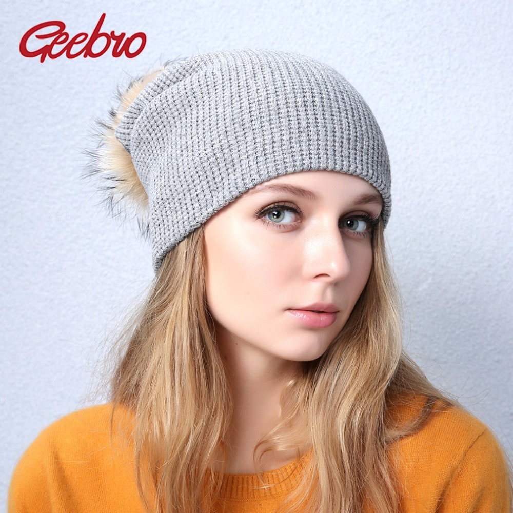 Geebro Brand Women's Pompom Beanie Hat Winter Casual Warm Knitted Beanies Hat For Girls Real Fur Pompons Beanie Raccoon Fur Hat