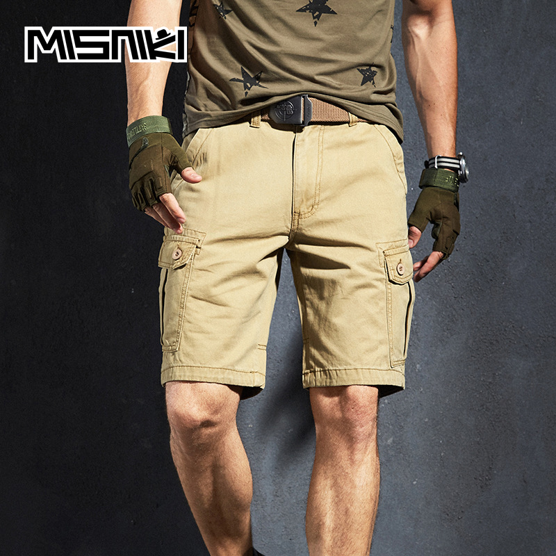 MISNIKI 2020 New Summer Cargo Shorts Men Multi Pocket Cotton Military Tactical Casual Mens Shorts
