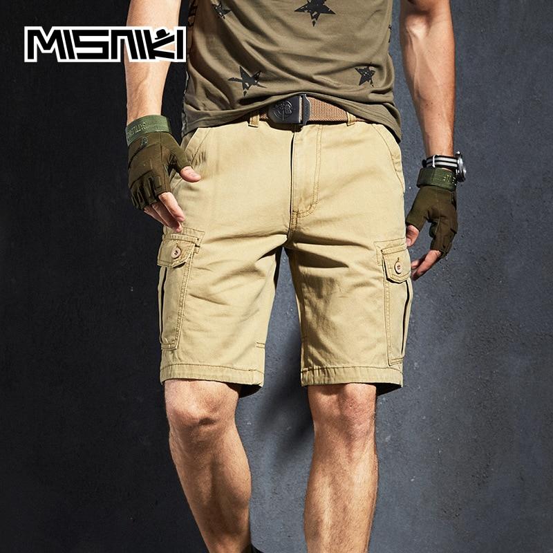 MISNIKI 2020 New Summer Cargo Shorts Men Multi Pocket Cotton Military Tactical Casual Mens Shorts