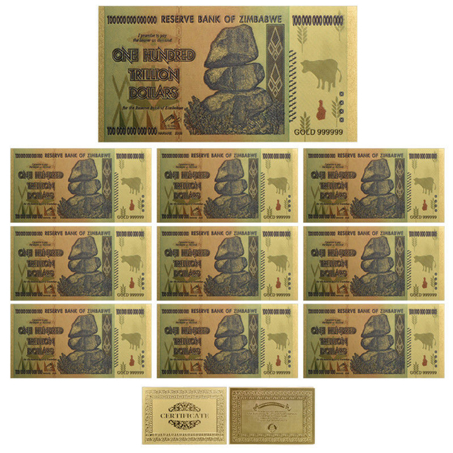 Festival Souvenir Gifts One Hundred Trillion Dollar Zimbabwe Gold Banknote 24k Plated Blue Bill Note Business