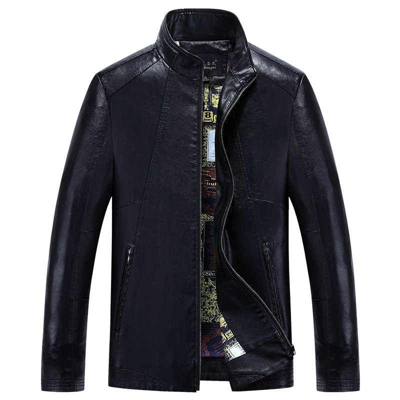 2017 short designM-5XL  male genuine leather clothing plus size plus velvet slim motorcycle leather jacket outerwear