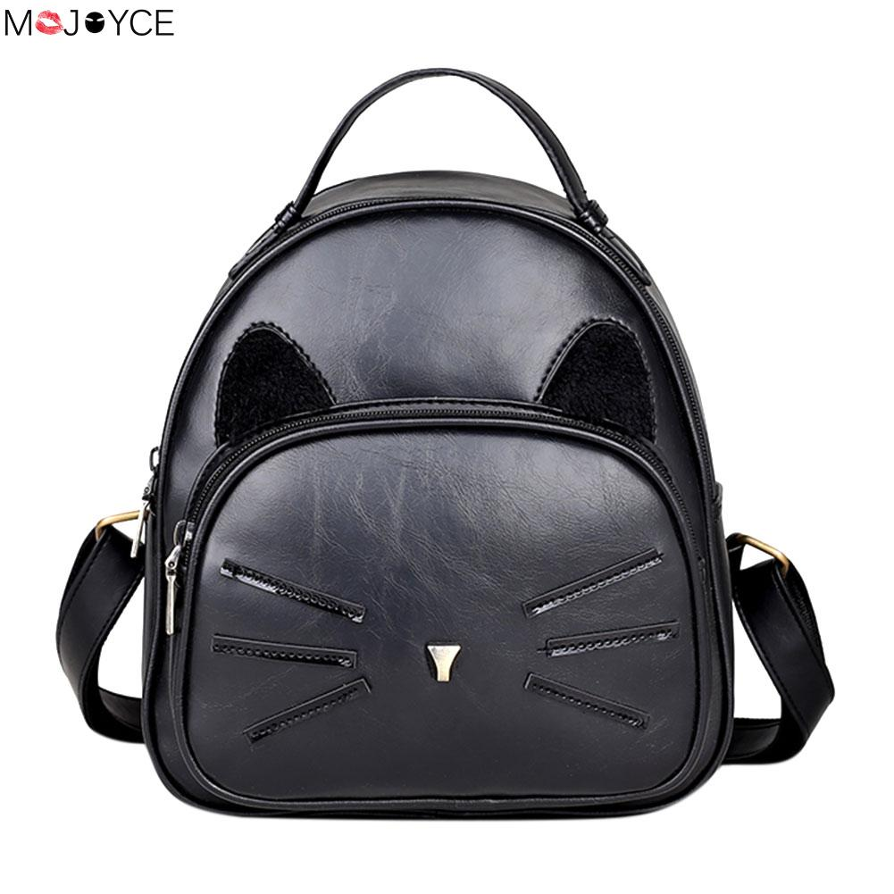 Luxury Cute Cat Backpack Design PU Leather Backpack Women Backpacks For Teenage Girls School Bags Lady Small Vintage Travel Bag