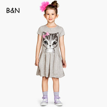 B&N Hot Sale Summer Cute Girl dresses Cat Print Fashion Baby Dress Grey Pink Cotton Children Clothing