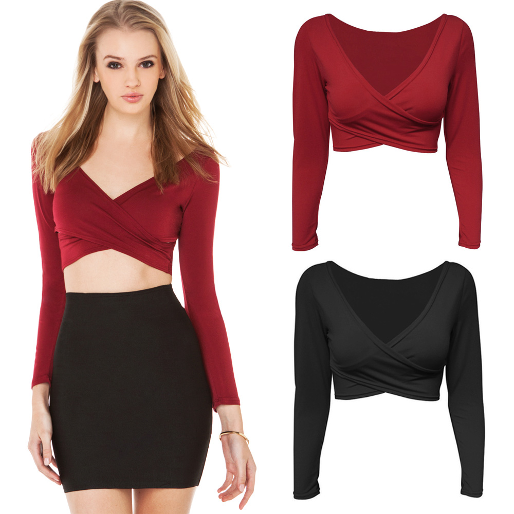 8f61f73321 New Fashion Cropped Crop Top Plunge V Neck Shirt Women Cross Front Long  Sleeve Short Camisetas Clubwear Black Burgundy-in T-Shirts from Women s  Clothing on ...
