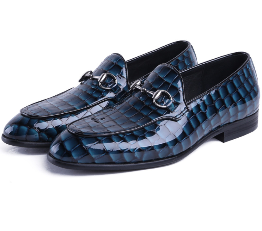 Serpentine Blue / black summer loafers men dress shoes patent leather formal business shoes mens wedding shoes with buckle fashion luxury mens patent leather shoes genuine leather black formal men dress shoe for wedding party buckle business high heel