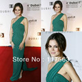 Rachel Bilson at 4th Dubai Internation Film Festival red carpet one shoulder pleats green long celebrity dress CD031