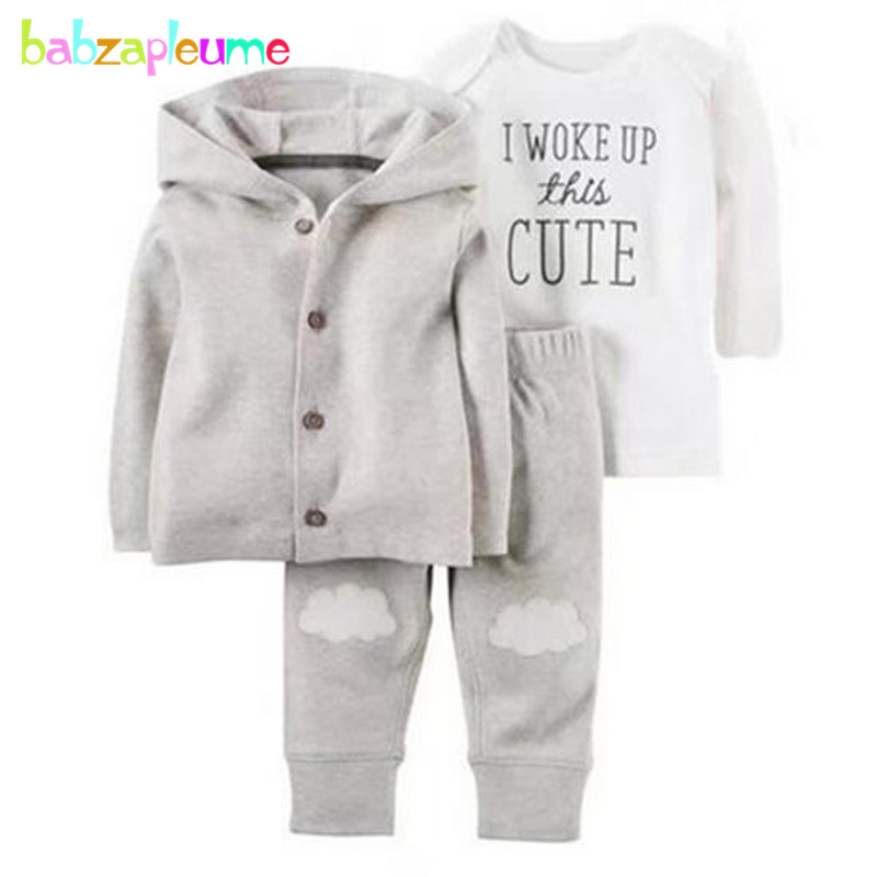 3PCS/0-24Months/Spring Autumn Newborn Suit Baby Boys Girls Clothes 1st Birthday Rompers+Jackets+Pants Infant Clothing Set BC1296 newborn baby boy girl 5 pcs clothing set cotton cartoon monk tops pants bib hats infant clothes 0 3 months hight quality