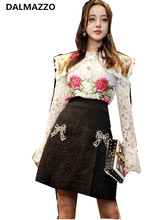 DALMAZZO 2017 Fashion Show Newest Autumn Women Long Sleeved Lace Embroidery Floral Shirt+Short Skirt Suit Ladies 2Piece Sets