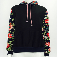 Autumn Long Sleeve Sweatshirt Harajuku Retro Pure Color Flower Sleeve Women S Velvet Hoodies Hooded Tracksuit