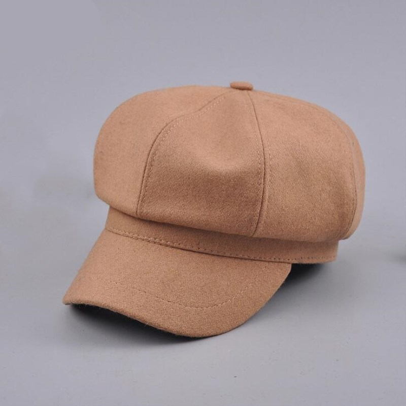 oZyc Retro Autumn Winter Spring Wool Beret Cap Men Women Plain Solid Octagonal Newsboy Cap Vintage Painter Artist Female Beret