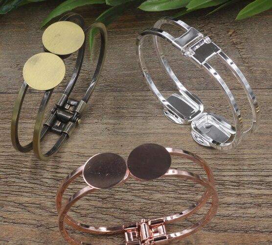 10pcs/Lot Cabochon 18mm Round Flat tray pad Antique Bronze/Gold/Silver/Black Bracelet Vintage Bangle DIY Jewelry Accessories