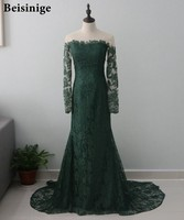 Emerald Green Lace Long Sleeves Evening Dress Mermaid Illusion Neck Court Train Elegant Long Formal Prom