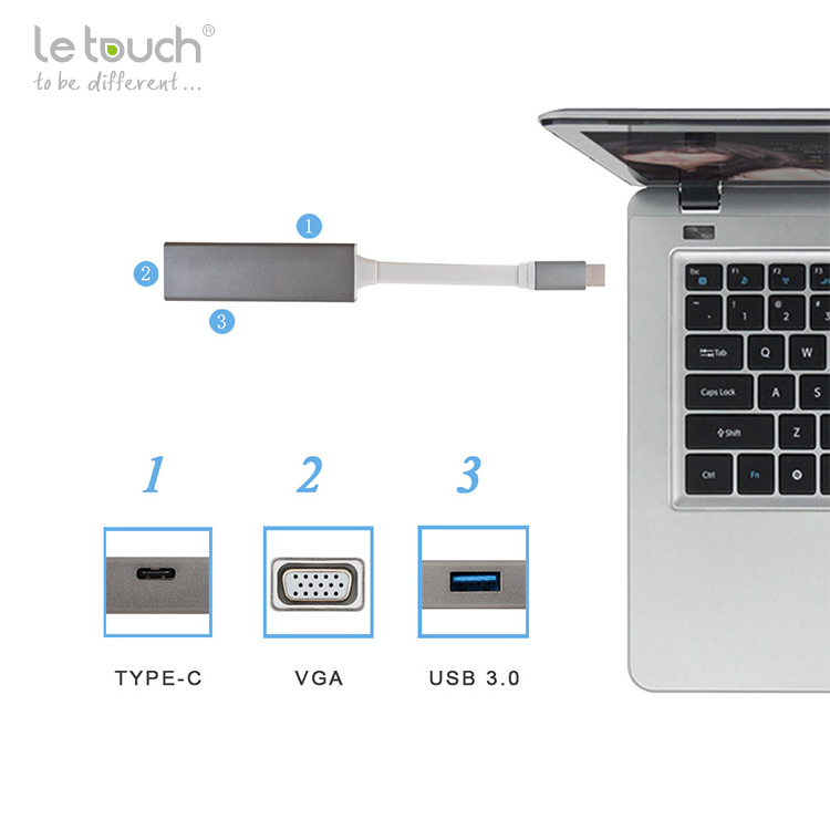 USB-C v VGA / USB 3.0 Adapter tipa C do VGA Hub Podpora 1080P s funkcijo polnjenja DP Tip C do VGA Adapter za Macbook Chrome