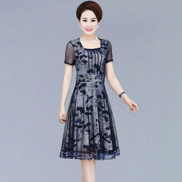 Middle Aged Women S Summer Dress Mother Dress Long Section Of Middle