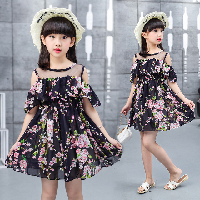 9de70e053ff40f summer 4-13 years old chiffon child clothes girl off shoulder voile  patchwork dress baby dresses children clothing kids dress