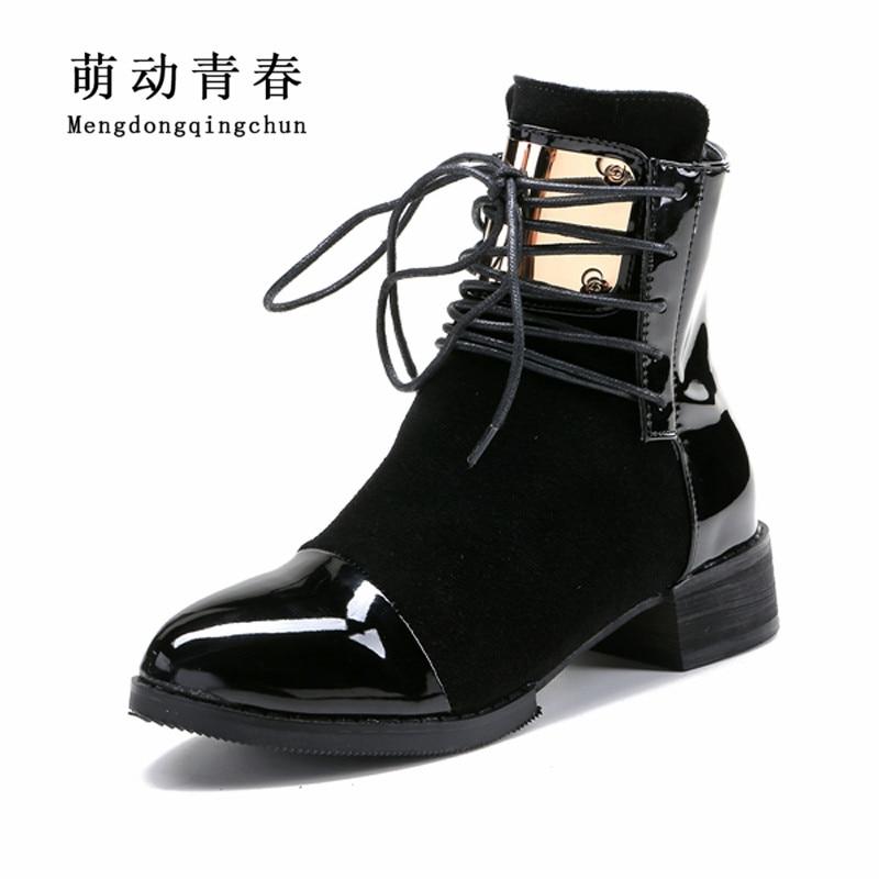35-43 mujeres botas de cuero genuino Martin botas de tobillo botas de moto zapatos de otoño zapatos de las mujeres de invierno de cuero de patente botas