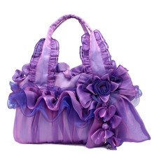 Floral Package French style Sweet Bud Silk Handbag for Women Handmade Cloth Soft Vintage Bag Rural Cosplay noble