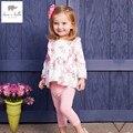 DB4370 dave bella primavera queda meninas do rosa de bebê conjunto de roupas de leopardo conjuntos de roupas conjunto esportes roupas boutique floral