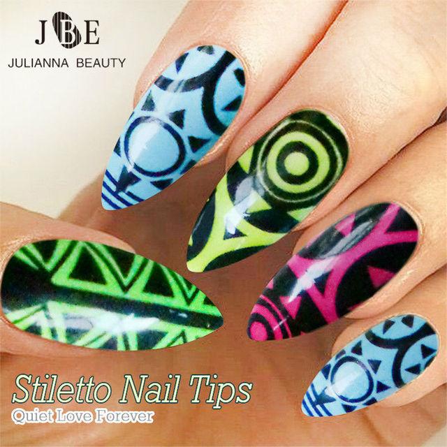 24pcs Set Nail Art Tips Oval Stiletto False Fake Tip Manicure Artificial Claw Acrylic
