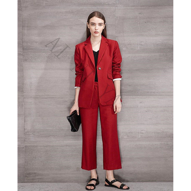 Fashion Woman Office Suits Top and Pant Set Office Uniform Designs Womens Suits Blazer with Pants Formal Suits for Weddings 2018
