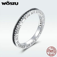 WOSTU 100 Real 925 Sterling Silver Always In My Heart Rings For Women Fashion Engagement S925