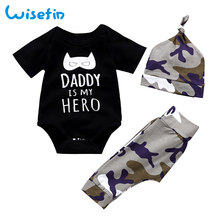 Camouflage Baby Boy Clothes Summer Skin-friendly short sleeve Bodysuit+Long Pants+Hat Clothing For D35
