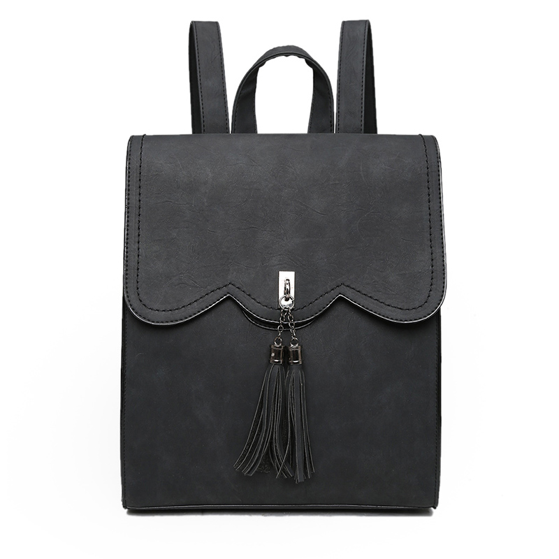 Fashion Female Leather Women s Backpacks with Headphone Plug New Ladies Pu Backpack Tassel Girls Travel