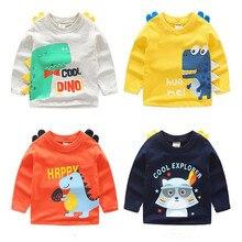 AJLONGER Boys T-shirt Kids Tees Baby Child Boy Cartoon Spring Children Tee Long Sleeve Cotton Autumn Shirt