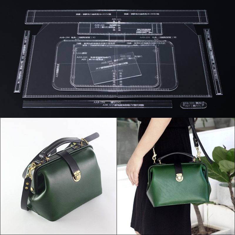 1 Set Shoulder Satchel Bag Handbag Sewing Pattern DIY Handmade Leather Template Leather Durable Acrylic Stencil 30*28*14cm